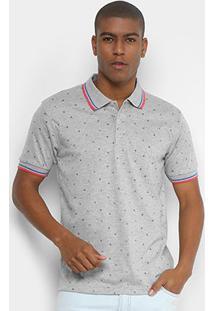 Camisa Polo Broken Rules Mini Print Geométrico Masculina - Masculino-Cinza Claro