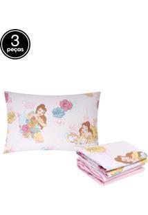 Jogo De Cama Solteiro Infantil Santista Disney Bela Magic 3Pçs Rosa