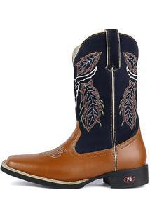 Bota Country Texana Sapatofran Bico Quadrado Cara De Boi Azul