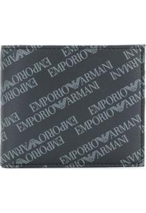 Emporio Armani Carteira Com Estampa De Logo - Preto
