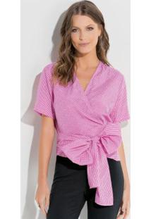 Blusa Com Amarração E Transpasse Rosa E Branco