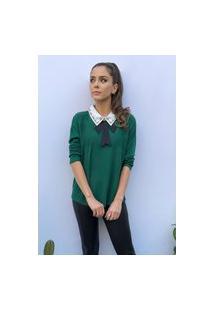 Blusa Suéter Hora De Diva Tricot Gola Pedrarias E Laço Verde