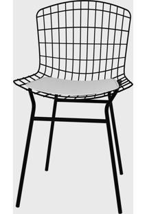 Cadeira Trama Vinil Branco/Pintada Pozza - Cinza - Dafiti