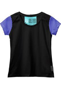 Camiseta Baby Look Feminina Algodão Estampa Xadrez Casual Vermelho/Preto Pp Azul