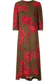 Osklen Vestido Midi Rosa Estampado - Verde