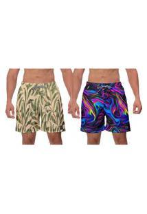 Kit 2 Shorts Moda Masculina Psicodelic Roxo Bege Estampado Folhagem Ajustável Banho Academia Esporte W2