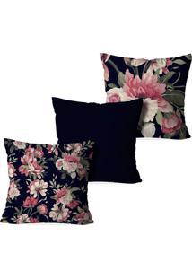 Kit 3 Capas Para Almofadas Decorativas Love Decor Floral Marinho - Kanui