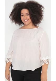 Blusa Listrada Com Renda Guipir- Branca & Vermelha- Cotton Colors Extra