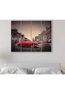 Placa Painel Decorativa Em Mdf Foto Carro Vermelho Kit 4 Placas