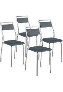 Cadeira 1717 4 Peças Jeans/Cromado - Carraro