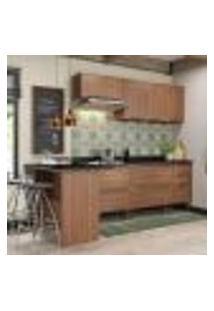 Cozinha Compacta Calábria Com Aéreos, Bancada E 2 Balcões Nogueira