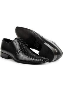 Sapato Social Bigioni Clássico Social Bico Fino Couro Masculino - Masculino-Preto