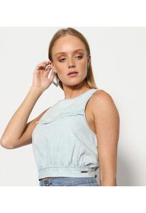 Blusa Cropped Jeans- Azul- Tritontriton