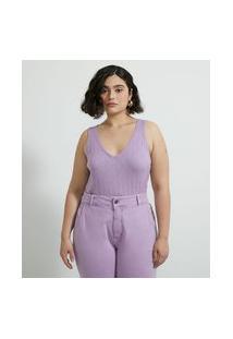 Blusa Cropped Regata Em Tricô Curve & Plus Size | Ashua Curve E Plus Size | Rosa | G