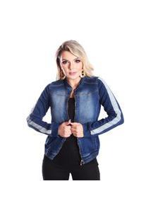 Jaqueta Jeans Massolla Jeans Com Zíper E Elástico No Cós E Bolsos Azul