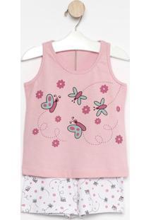 Pijama Borboletas- Rosa & Branco- Zulaizulai