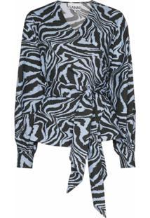 Ganni Blusa Com Estampa De Tigre A Amarração - Azul