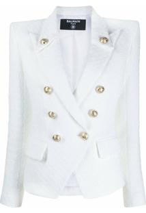 Balmain Blazer De Tweed Com Abotoamento Duplo - Branco