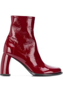 Ann Demeulemeester Ankle Boot Bristol Com Salto Curvado - Vermelho