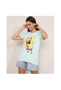 Camiseta Bob Esponja Manga Curta Decote Redondo Azul Claro