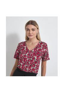 Blusa Gola V Em Viscolycra Estampa Floral | Cortelle | Vermelho | P