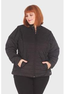 Jaqueta Listra Plus Size Mirasul Feminina - Feminino-Preto