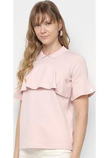 Camisa Polo Lacoste Babados Feminina - Feminino-Rosa Claro
