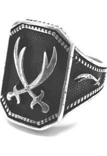 Anel Prata Mil Espada De Salomão De Prata