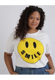 T-Shirt Feminina Plus Size Smile Manga Curta Decote Redondo Branca