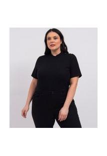 Blusa Em Ribana Com Botões Curve & Plus Size | Ashua Curve E Plus Size | Preto | Eg