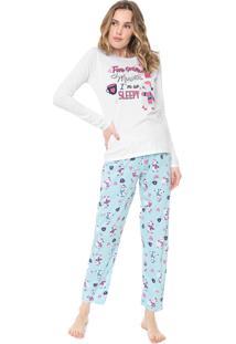 Pijama Malwee Liberta Ilhama Branco/Azul