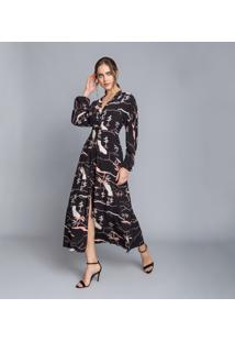 Vestido Manga Longa Mídi Cinto California - Lez A Lez