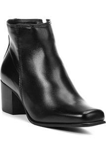 Bota Couro Cano Curto Shoestock Salto Bloco Feminina - Feminino-Preto