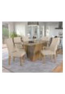 Conjunto De Mesa De Jantar Com Tampo De Vidro E 6 Cadeiras Dundee Linho Bege E Freijó