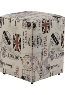Puff Cubo Madeira Pop Love London Stay Puff Branco