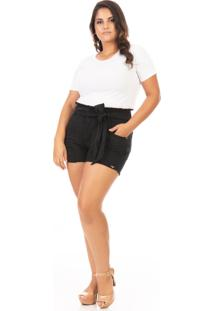 Shorts Feminino Jeans Clochard Com Puídos Plus Size - Tricae