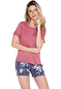 Pijama Curto Inspirate Floral Rosa