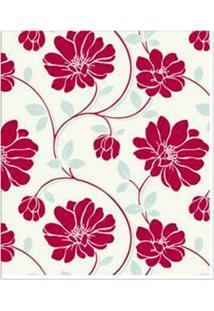 Papel De Parede Floral Vermelho, Prata E Bege Corium Vinílico 53Cm X 10M Muresco