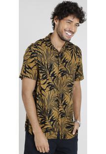 Camisa Masculina Relaxed Estampada De Folhagem Manga Curta Mostarda