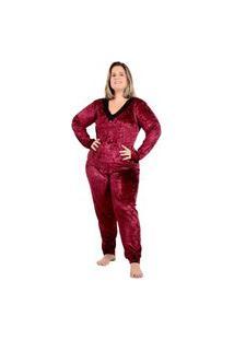 Pijama Plus Size De Frio Veludo Bordô Tamanho Especial