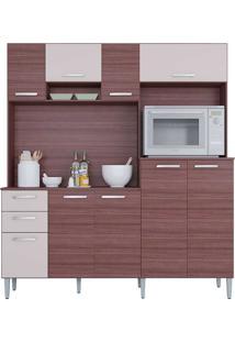 Cozinha Compacta Com 9 Portas E 2 Gavetas Gisele - Poquema - Capuccino - Offwhite