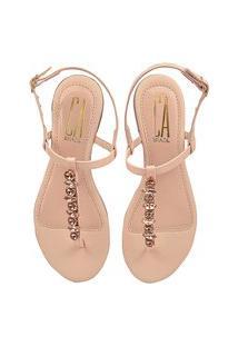 Sandália Rasteirinha Feminina Fio Pedraria Strass Latikas Shoes Nude