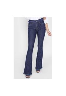 Calça Jeans Lança Perfume Flare Pespontos Azul-Marinho