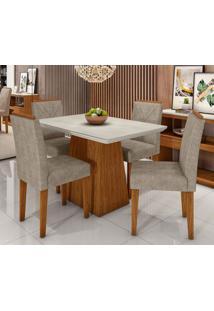 Conjunto De Mesa De Jantar Com Tampo De Vidro Bárbara E 4 Cadeiras Amanda Animalle Off White E Bege