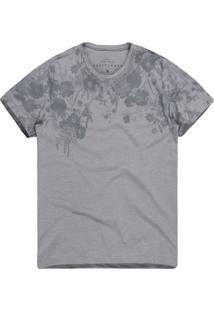 Camiseta Khelf Estampa Floral Cinza Claro