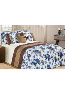 Kit Edredom Vitoria King Azul Floral Com 7 Peças - Aquarela