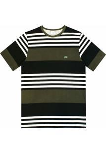 Camiseta Pau A Pique Listrada - Masculino-Verde