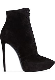 Saint Laurent Ankle Boot Betty Com Amarração - Preto