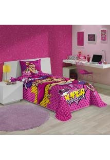 Colcha Solteiro Infantil Lepper Barbie Super Princesa Rosa Matelassê