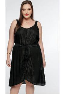 Vestido Plus Size Preto Alça Cirrê